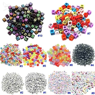 [dueplay] DIY Square Round Acrylic Alphabet Spacer Loose Beads For Necklace Bracelet Letter Beads Charms Jewelry Making