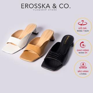 Dép cao gót thời trang Erosska mũi vuông da rắn gót cao 5cm màu đen _ EM059
