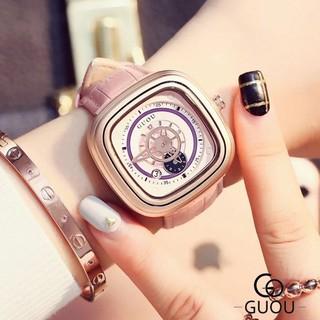 Đồng hồ nữ Guou chính hãng 8150 mặt vuông dây da kiểu dáng độc đáo