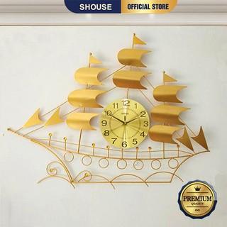 Đồng Hồ Treo Tường Đẹp Thuyền Buồm Vàng Shouse B68 kim trôi trang trí nghệ thuật cho phòng khách