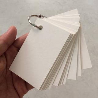 1000 Thẻ trắng học từ vựng flash cards 5x8cm trắng kèm 5 khoen không gỉ