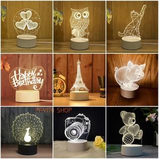 Đèn ngủ trang trí LED 3D PAVITA – Quà tặng độc đáo, ý nghĩa cho bạn gái, bạn trai, cho bé iu