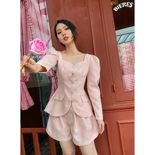 RECHIC Set áo cổ vuông tay phồng dài với quần short form rộng Elin màu hồng dễ thương thanh lịch xinh xắn công sở thumbnail