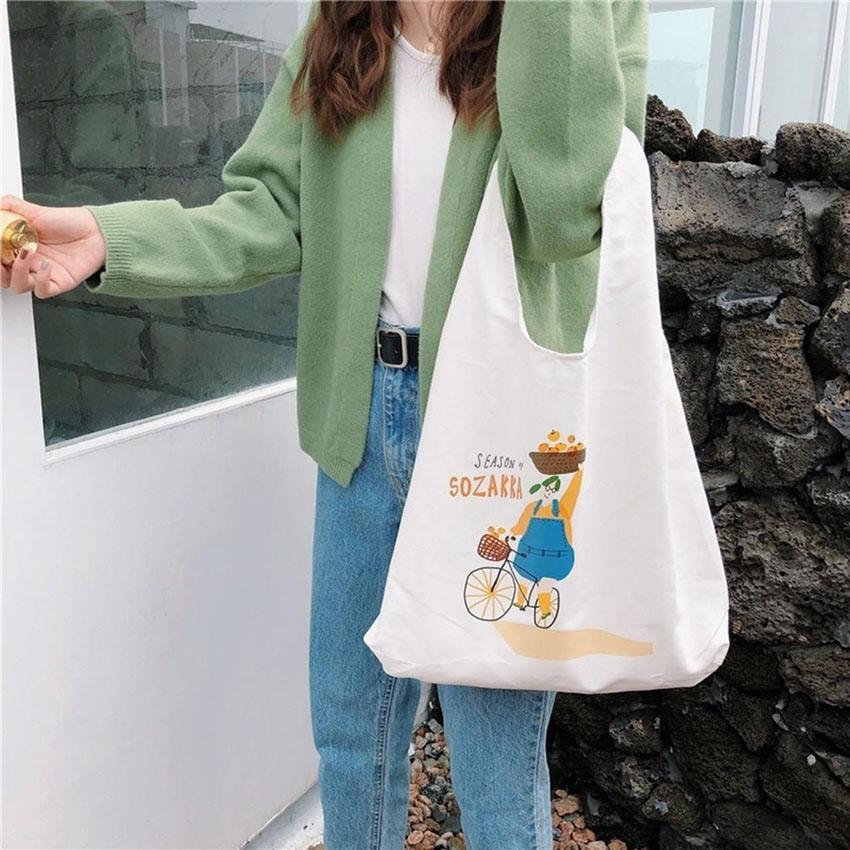 Túi tote vải bố đựng đồ canvas đeo chéo Hàn Quốc Siêu Hot