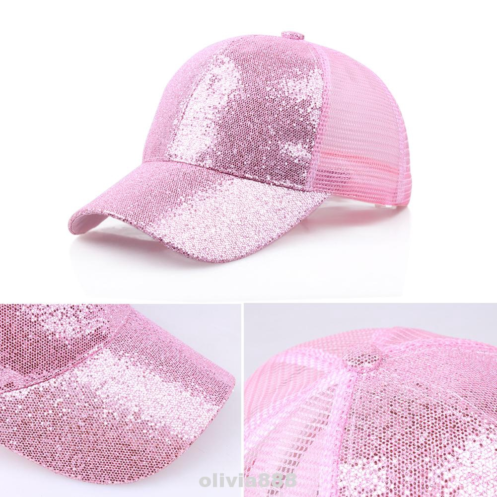 Men Women Casual Cotton Fluorescent Outdoor Protection Ponytail Sequined Baseball Cap