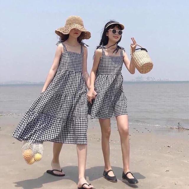 Váy kẻ caro tầng 2 loại ngắn - dài