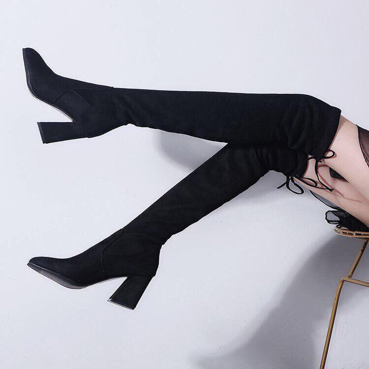 Giày boot nữ da lộn, boot dài nữ đế 7 phân hàng đẹp siêu hót trend