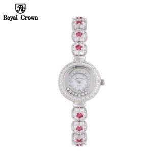 Đồng Hồ Nữ Chính Hãng Royal Crown 5308 Dây Đá Vỏ Trắng Đá Ruby thumbnail