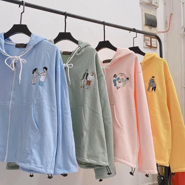 Áo khoác Hoodie Zip Love🌿Mint/ Blue/ Hồng/ Vàng🔰 Nam nữ Unisex 🔥 Jaystoree