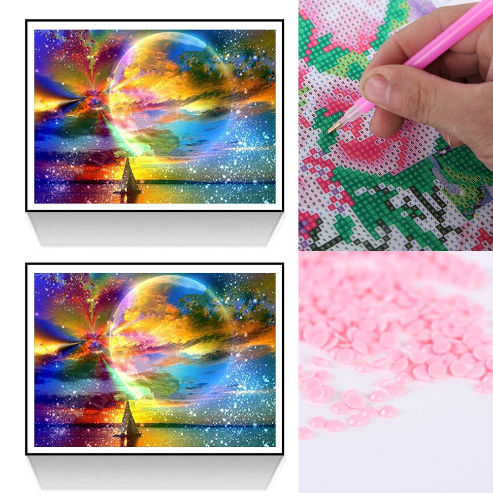 30*40cm Bedroom Moonlight Home Decor DIY Embroidery Cross Stitch Starry Sky Full Drilled Living Room 5D Diamond Painting