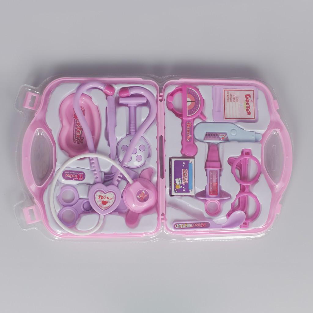 Hộp đồ chơi bác sĩ gồm 16 món màu hồng cho bé gái, bộ đồ chơi bác sỹ