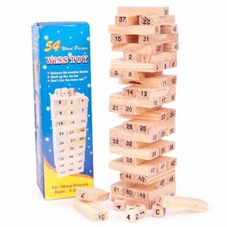 Bộ 02 đồ chơi rút gỗ Wiss Toy 54 thanh kèm 4 con súc sắc cho bé