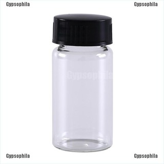 MissCherry☆ 1Pcs 20Ml Small Lab Glass Vials Bottles Clear Containers With Black Screw Cap