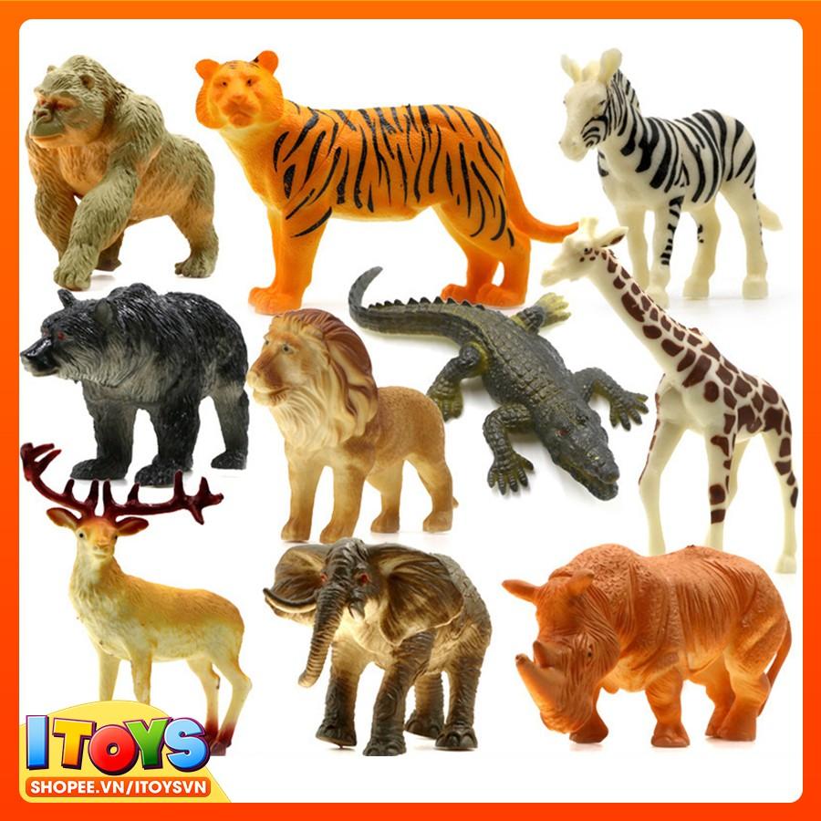 Bộ 10 mô hình động vật giúp trẻ nhận biết con vật, (5-13cm) Đồ chơi động vật ITOYS [ MHĐV8 ]