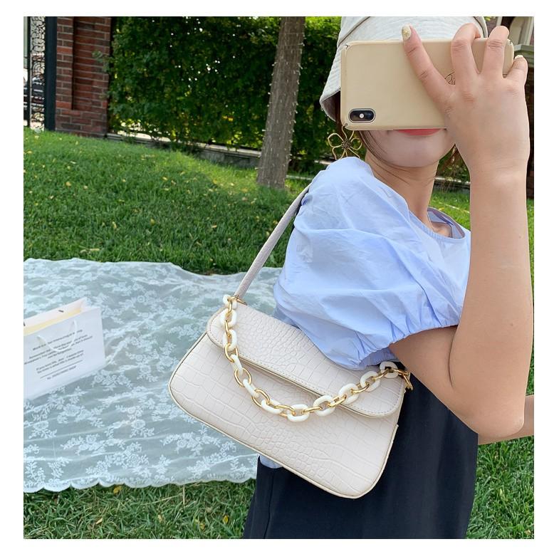 Túi kẹp nách nữ dây xích thời trang da mềm giá rẻ sang chảnh GL89