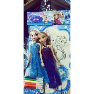 Búp bê Elsa và Anna tặng kèm tranh tô màu và bút vẽ