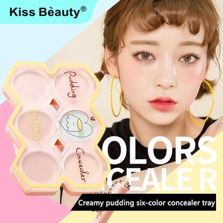 kiss beauty Concealer Six colors Custard Pudding Concealer Primer Lightweight, moisturizing, delicate concealer, natural dressing and repairing facial make-up