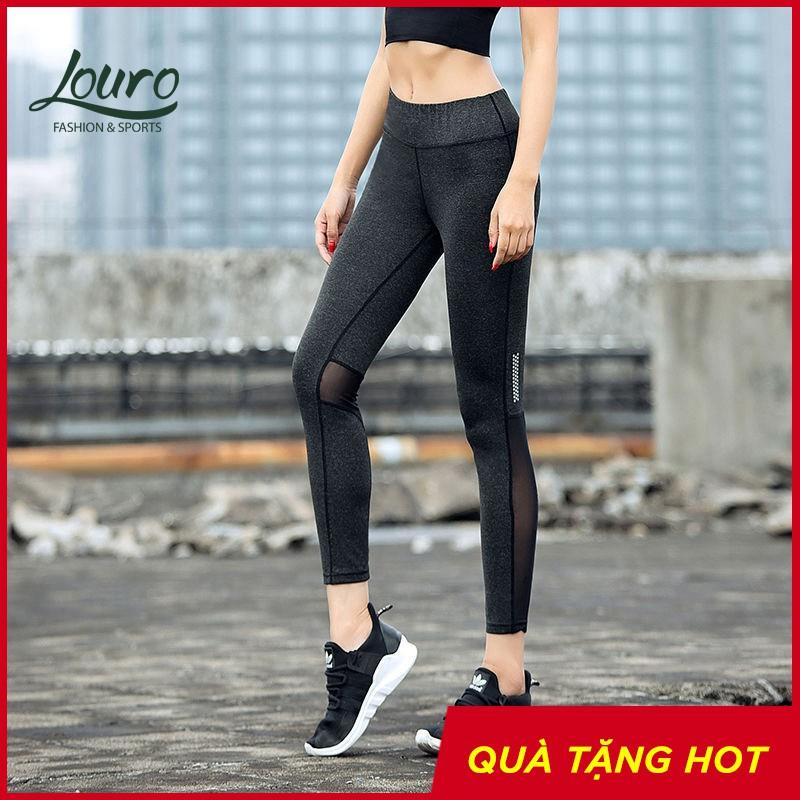 Quần tập gym nữ Louro QL56, kiểu quần tập gym nữ kết hợp lưới thoát nhiệt thoáng mát, co giãn 4 chiều