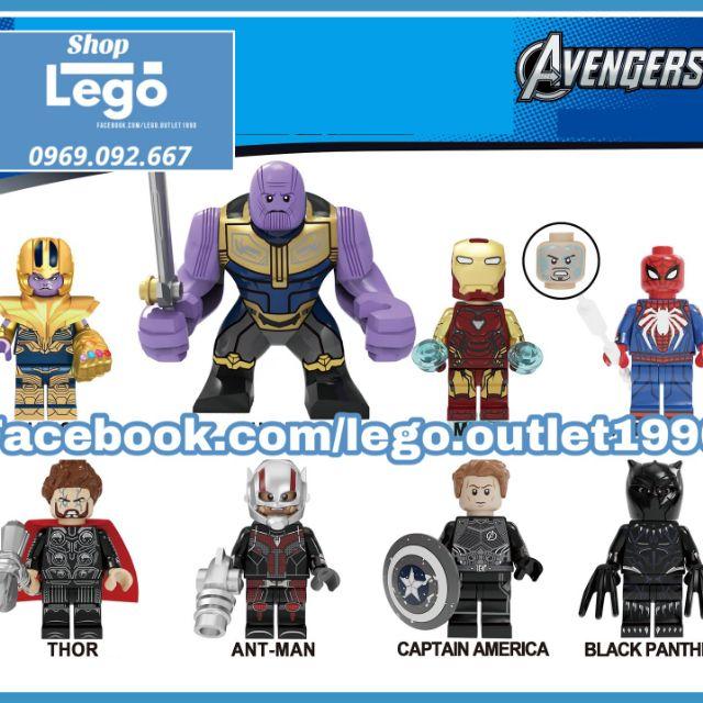 Xếp hình Avengers Endgame & Infinity War Thor Thanos Spider-man Lego Minifigures Kopf KF6087