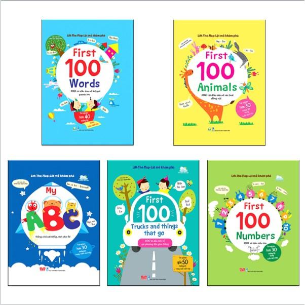 Sách - Bộ 5 quyển Lật mở khám phá: Words + Animals + My ABC + Trucks anh thing that go + Numbers