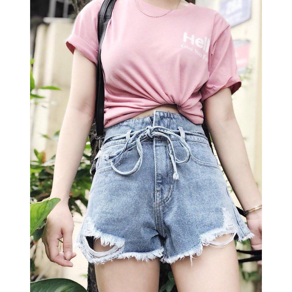 Quần short jean lưng cao buộc dây nịt
