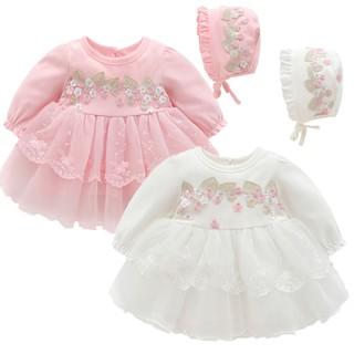 Váy hoa ren ngực dài tay kèm mũ cho bé gái sơ sinh 0-12 tháng