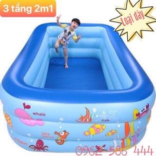[ RẺ VÔ ĐỊCH ] Bể Bơi 3 tầng 210cm Tặng kèm bộ keo vá ( ẢNH THẬT )