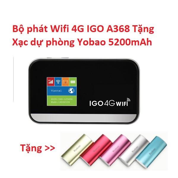 Bộ phát Wifi 4G IGO A368 Tặng Xạc dự phòng Yobao 5200mAh