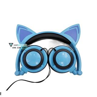 Tai nghe tai mèo TTLIFE Xanh lam có led, chất lượng cao