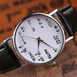 Đồng hồ nam/nữ dây giả da thiết kế dùng các công thức toán học thay cho con số giờ