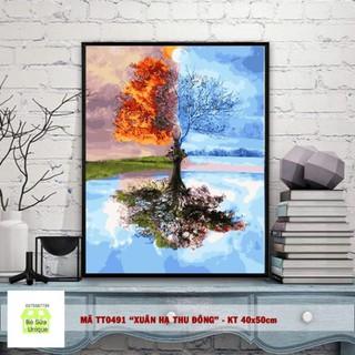 tranh sơn dầu số hóa cây bốn mùa