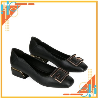 Giày cao gót nữ 3p - giày nữ cao cấp HT.NEO (1) thiết kế hot 2021 cực sang, đế vuống mới, đính hình CS156 thumbnail