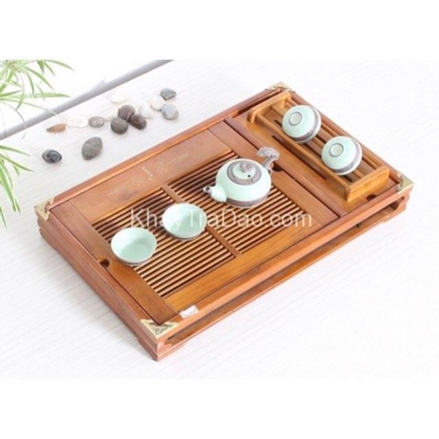 Khay trà gỗ sồi kết hợp gác chén