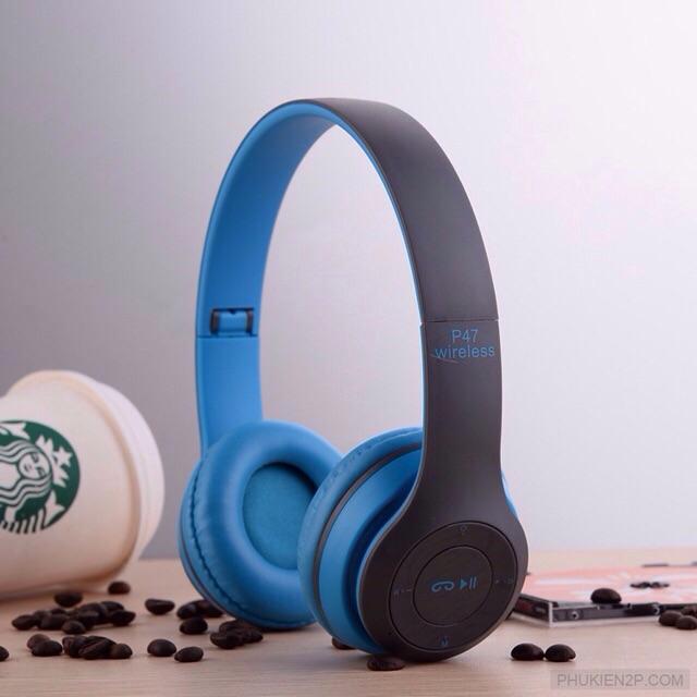 Tai nghe Bluetooth chụp tai P47 có khe cắm thẻ nhớ