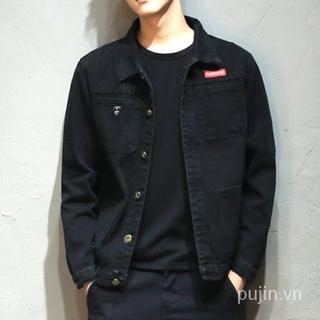 Men's Denim Jacket Slim-Fit Top Denim Jacket Denim Jacket Men's All-Matching Work Clothes Jacket Loose Large Size Green Washed Denim Short Gown Clothes for Men ofrx