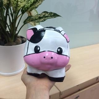 Bò mặt hồng size M- Heo đất vẽ 3D HandMade