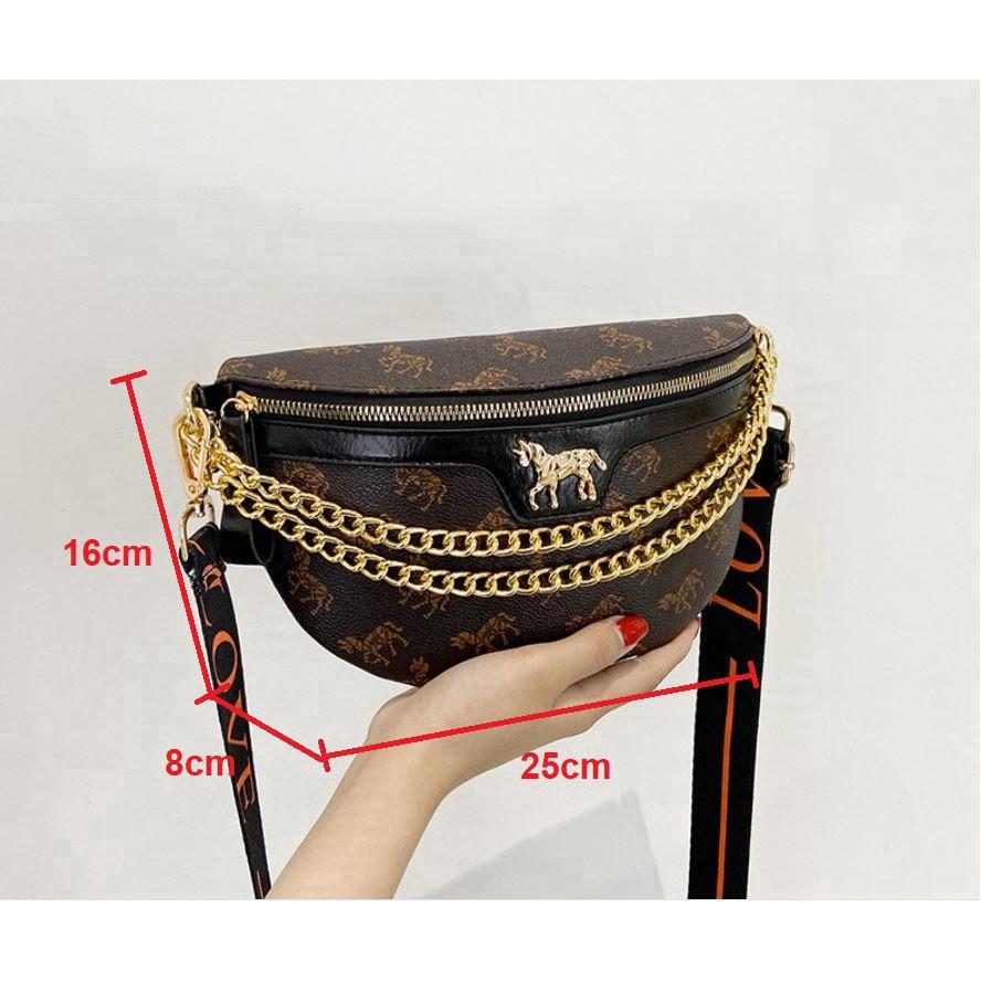 Túi đeo chéo trước ngực da cao cấp cực đẹp siêu cá tính DC02 túi bao tử - Chip Xinh