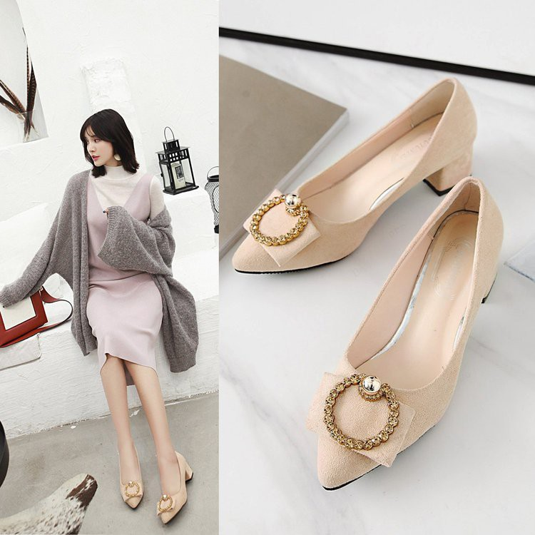 High-heeled shoes, versatile fashion women's shoes, thick and pointed, shallow mouth, single shoes, women