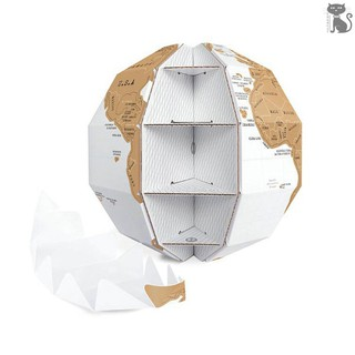 §COD Creative DIY Scratch Globe 3D Stereo Assembly World Map Travel Kid Child Gift Tellurion