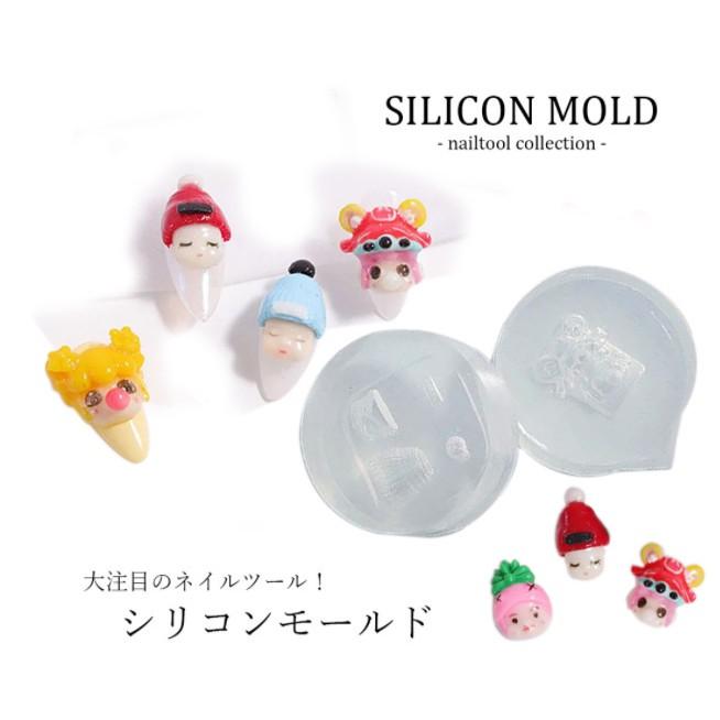 Khuôn silicone trong dẻo đắp bột, nail gel hình mặt búp bê