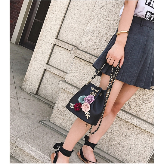 W✧✧Luxury Office Lady Leopard Handbag Shoulder Crossbody Bucket Bag 3D Flower Chain