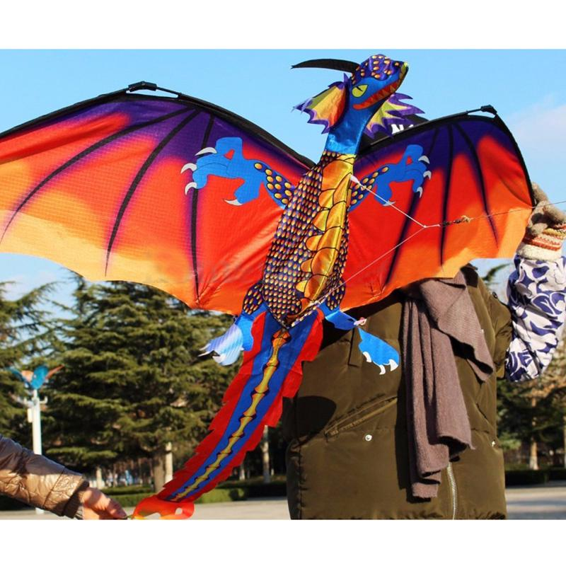 Vivid 3D Dragon Kite Single Line With Tail Outdoor Sports Toy Children Kids Gift