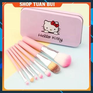 Bộ cọ trang điểm Hello Kitty 7 món hộp thiếc loại tốt
