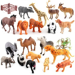 Mini Lovely Plastic Zoo Animal Figure Model Set Tiger Leopard Hippo Giraffe Kids