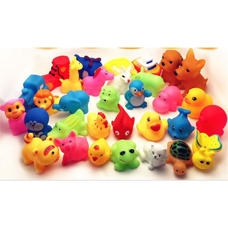 Specialhour 13Pcs Cute Mixed Animals Colorful Soft Rubber Float Squeeze Sound Toy