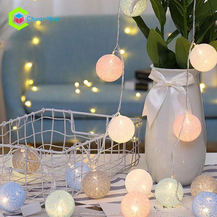 Dây đèn LED 20 bóng cotton dùng trang trí tiệc, phòng ngủ, bàn trang điểm - GDA064