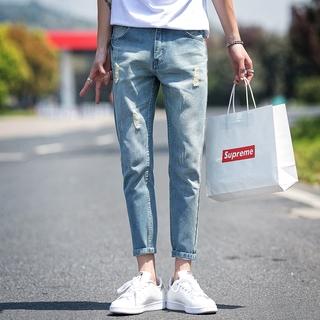 Jeans Men High Street Casual Feet Pants Fashion Men's Jeans Slim Tight Hole Denim Street Hip Hop Pants 2020 Fashion Tattered Jeans for Men