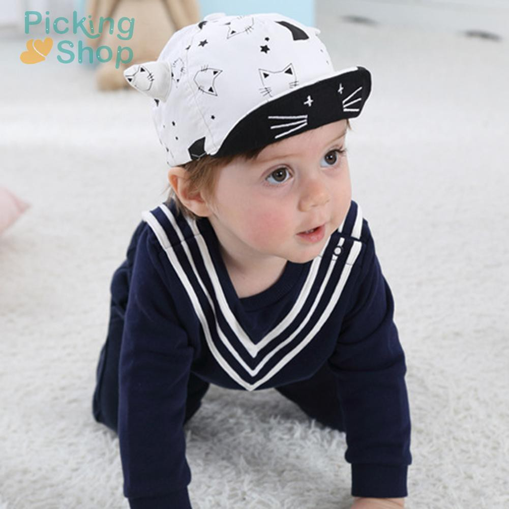 Baby Children Cap Cotton Soft Cute Sun Hat Cartoon Cat Horn Baseball Caps