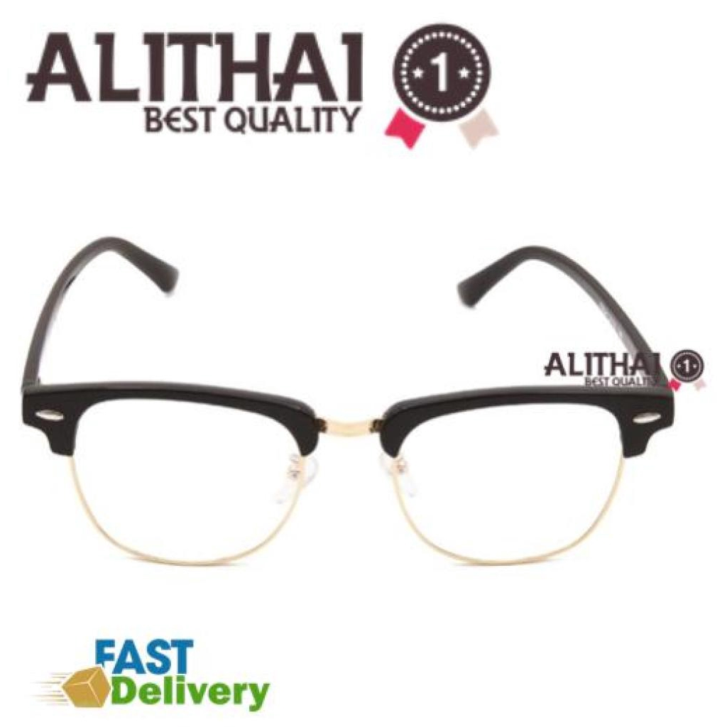 Alithai แว่นตากรองแสง แว่นกรองแสง กรอบแว่นตา แฟชั่น เกาหลี วัสดุพรีเมียม พร้อมเลนส์กรองแสงคอม ทรง Club Master Style รุ่น