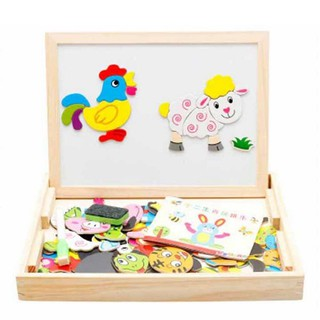Drawing Writing Board Magnetic Puzzle Double Easel Kid Wooden Toy Gift Children Intelligence Development Toy